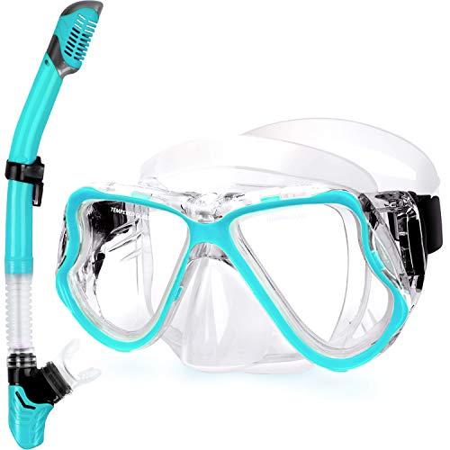 Greatever Gafas y Tubo de Snorkel Set Kit de Snorkeling Anti-Vaho Anti-Fuga Máscara de Buceo para Adultos (Green)