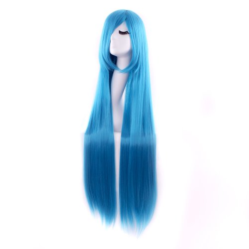 MapofBeauty 40' 100cm Anime Costume Long Straight Cosplay Wig Party Wig (Cyan Blue)