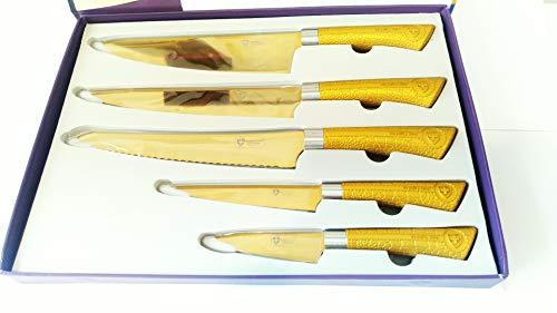 Royalty Line Cuchillos Cocina Acero Inoxidable,Recubrimiento Titanio,Libre de Toxicos,Antibacteriano
