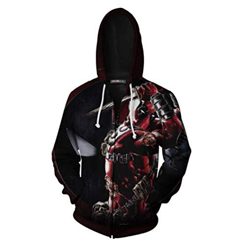 AMIMES Zu Hoodies, 3D Printed Anime Theme Zip up Hoodys Herbst-Winter-Jacke Outwear for Männer und Frauen (Color : Anime A, Size : 4XL)