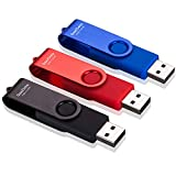 SeeDete 32GB USB Flash Drives, USB Stick, Thumb Drive Rotated Design, Memory Stick with LED Light for External Storage and Backup Data, Jump Drive, 3 Pack 32GB (3 Colors: Black Red Blue )