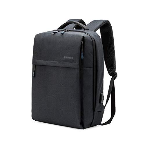 FH ラップトップバックパック、USB充電ポート付きラージビジネスバッグ、防水カレッジバックパック旅行用バックパック(13-15.6インチ)ラップトップ (Color : Black, Size : 13 inches)