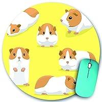 KAPANOU ラウンドマウスパッド カスタムマウスパッド、かわいいモルモットのポーズ漫画、PC ノートパソコン オフィス用 円形 デスクマット 、ズされたゲーミングマウスパッド 滑り止め 耐久性が 200mmx200mm