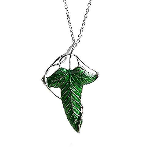 POIUIUYH Co.,ltd Collar de Moda El Hobbit Vintage Elf Green Leaf Pin Señor de los Anillos Mo Mujeres Hombres Joyería