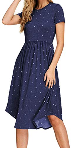 YUNDAI Women Short Sleeve Pleated Polka Dot Pocket Loose Swing Casual Midi Dress XX-Large, Navy