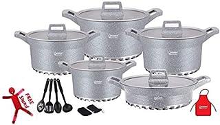 Granite Coated Die Cast Aluminum Cookware 17 pcs Cooking pot and Shallow Pan Casserole Set