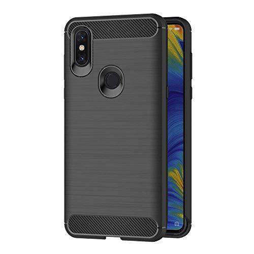 Funda para Xiaomi Mi Mix 3 (6,39 Pulgadas) TPU Silicona Carcasa Fundas Protectora con Shock Absorción y Diseño de Fibra de Carbon (Negro)