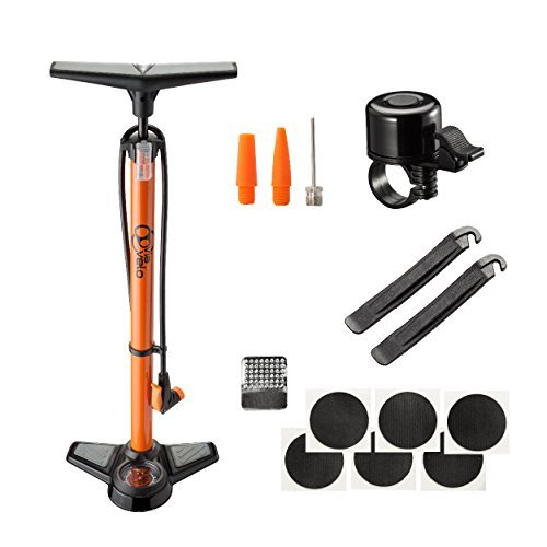 Bike Air Floor Pump - Via Velo Bike Pump with Steel Base, 160PSI Pressure & Large Gauge, Universal Head For Presta & Schrader Valves – Mini Bell, Repair Kit & Inflation Needle For Bikes and Balls