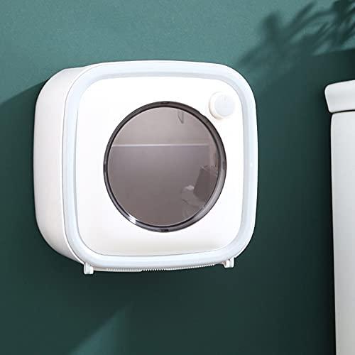 Qiujing Soporte de papel higiénico de doble capa impermeable para montaje en la pared, autoadhesivo, rollo seco, dispensador de papel para baño de 22,5 x 12,5 x 22,5 cm