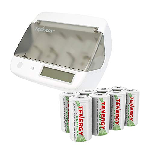 Combo: Tenergy TN299 Hybrid NiMH, NiCd, Li-ion, LiFePO4 Universal Charger + 8 pcs Tenergy Low Self Discharge Centura D Batteries