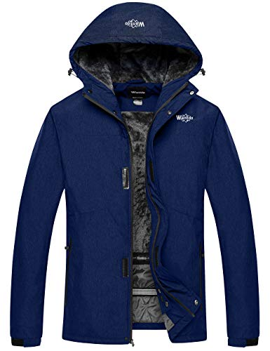 Wantdo Men's Ski Jacket Waterproof Rainwear Softshell Sportswear Dark Blue 2XL