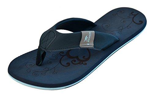 MADSea Damen Zehenstegpantolette Beach Woman Zehentrenner Sandale dunkelblau hellblau, Größe:38 EU