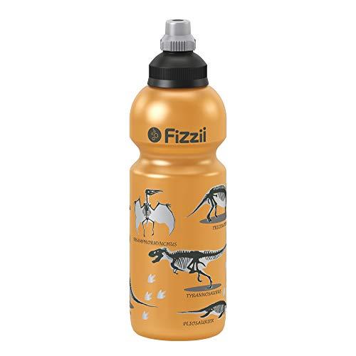 Fizzii Kinder- und Freizeittrinkflasche 600 ml (auslaufsicher bei Kohlensäure, schadstofffrei, spülmaschinenfest, Motiv: Dino orangemetallic)