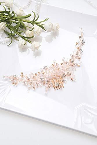 YHN Vintage Roségold Silber Hochzeit Accessoires Brautkopfbedeckung Glänzender Kristall Haarkamm, Roségold