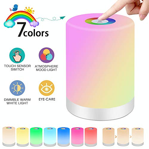 SaponinTree Luces Nocturnas Táctil LED, Lámpara Led de Mesa, RGB 7 Colores Cambiable y Luz Blanca Regulable, Inalámbrico luz Nocturna Niños de Color Regulable Luz de Noche con Control Táctil