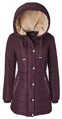 Sportoli Winter Coats for Women Hooded Quilted Puffer Jacket with Fur Collar - Deep Rosewood (3X)