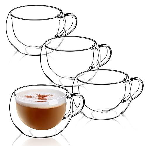KADAX doppelwandige Glas Tasse, 280 ml, Kaffeeglas, Thermoglas für Tee, Kaffee, Cappuccino, Wasser, Espresso, EIS, Glas mit Griff, Kaffeetasse, Teeglas mit Schwebeeffekt (4)