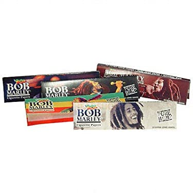 """Bob Marley 1 1/4"""" Pure Hemp Cigarette Rolling Papers (5 Booklets)"""