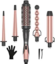 KIPOZI Professional 5 in 1 Curling Wand Set, Instant Heat Up Hair Curler Wand with 4 Interchangeable Ceramic Barrels and 1 Curling Iron Brush