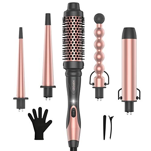KIPOZI Professional 5-in-1 Curling Wand Set, Instant Heat Up Hair Curler Wand with 4 Interchangeable Ceramic Barrels and 1 Curling Iron Brush