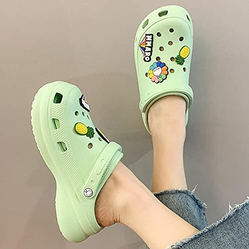 Kirin-1 Flip Flops Womens Size 6,Unisex'S Men'S And Women'S Classic Clog,Different Shape Shoes Charms,Tidy Net Red Summer Thick Bottom Ladies Summer Out-37-38_light Green