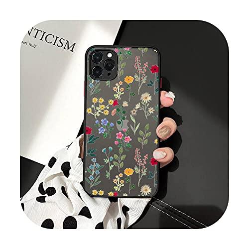 Lujo plantas tropicales flor teléfono casos mate transparente para iphone 7 8 11 12 más mini x xs xr pro max cover-a11-iPhone12