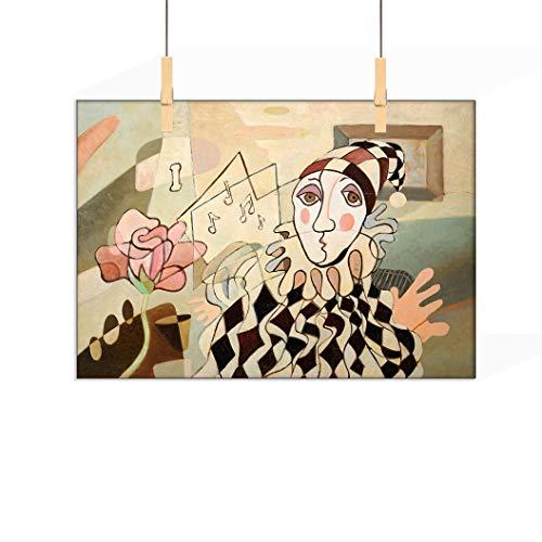 Abstrakte Dekoration, individueller Leinwanddruck, Ölgemälde von Harlekin und Rose, moderner Kunstdruck, Bild, Raumdekoration, Heimdekoration, 50,8 cm B x 68,6 cm L