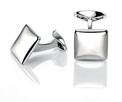 Fred Bennett Herren-Manschettenknöpfe 925 Sterling Silber silber V460 Quadrat-Manschettenknöpfe mit abgerundeten Ecken