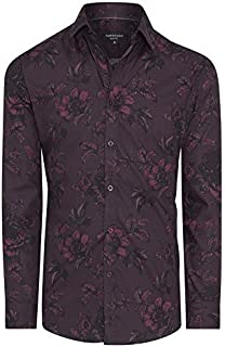 Tarocash Men's Devon Slim Floral Print Shirt Cotton Slim Fit Long Sleeve Sizes XS-5XL for Going Out Smart Occasionwear