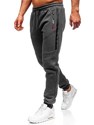 BOLF Herren Sporthose Trainingshose Jogginghose Fitnesshose Freizeithose Joggerhose Sport Style Must JX8982 Dunkelgrau L [6F6]