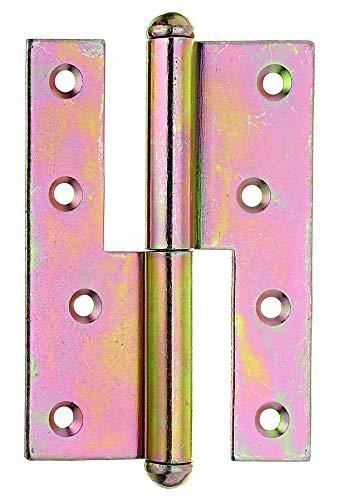 GAH-Alberts 341244 Aushebescharnier   links oder rechts   galvanisch gelb verzinkt   120 x 88 mm