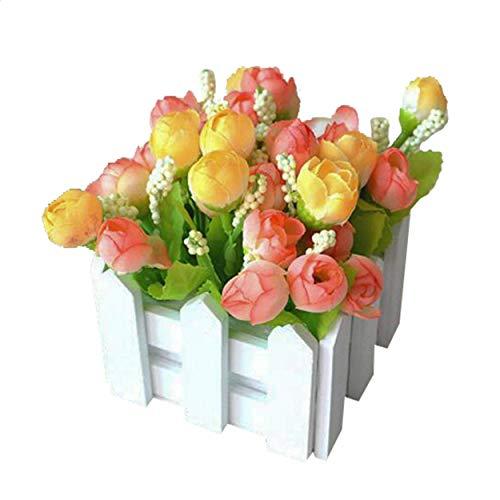 Flikool Roses Plantes Artificielle avec Clôture Fleurs Artificiel in Pot Truque Bonsai Decoration Ornements Maison Mariage Terrasse Saint-Valentin Deco 10 * 10 * 12cm - Orange