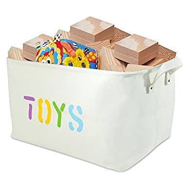 OrganizerLogic Toy Storage Baskets - 20  x 14  x 10  Extra Large Basket Storage for Toys, Kids, Pets, Laundry - Woven Fabric Basket - Heavy Duty Canvas (XL)