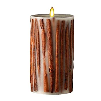 Raz Imports 3.5 X7  Moving Flame Cinnamon Stick Candle - Flameless Lighting Accent and Decorative Battery Operated Flickering Light Source with Timer - Fake Candles for Living Room Patio and Bedroom
