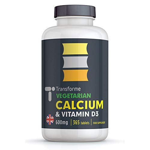 Calcium and Vitamin D3 Tablets 600mg   Bones, Teeth, Immune System & Muscle Function   High Strength 1200mg Serving   365 Tablets   Vegetarian Supplement   6 Month Supply by Transforme