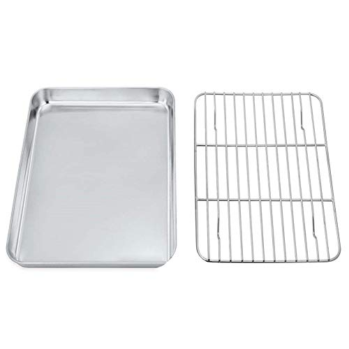 CactusAngui Baking Sheet with Rack Set, Stainless Steel Baking Pan Tray Cookie Sheet with Cooling Rack for Baking Use, Non Toxic, Easy Clean,Mirror Finish & Dishwasher Safe – Ideal for Bakers L