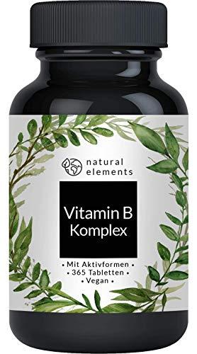 Vitamin B Komplex - 365 Tabletten - Mehrfacher Sieger 2020/2019* - Premium: Mit Aktivformen, Quatrefolic®, Kofaktoren - Laborgeprüft, hochdosiert, vegan und hergestellt in Deutschland