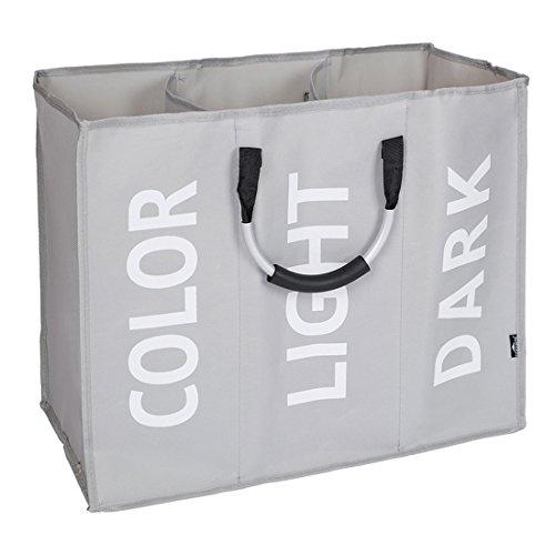 DOKEHOM Großer Wäschekorb, 3 Fächer, klappbar, 2 Farben, für Schlafzimmer, Stoff (grau), mit englischer Aufschrift
