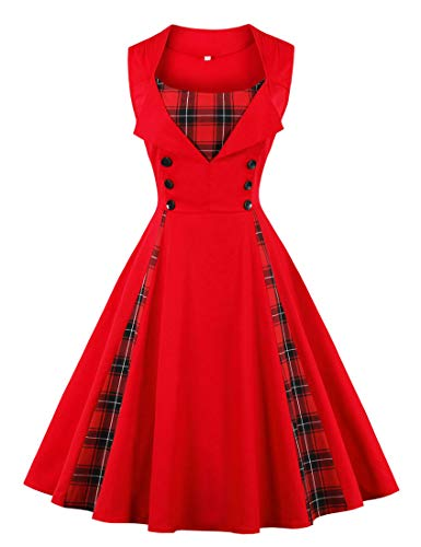 KILLREAL Women#039s Fashion Vintage Casual Tartan Plaid Patchwork Cocktail Christmas Holiday Party Dress Red Medium