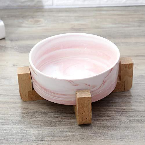 Zgywmz Ceramic Pet Bowl Cat Bowl Hondenmand kat voederbak Satisfying Hout afdruiprek keramische kraan Marloozed kat hond Rice Bowl roze