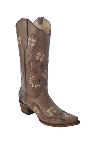 Corral Boots Womens Brown - Multi Color Floral Embroidery, Size: 10.5, Width: M (L5176-LD-M-10.5)