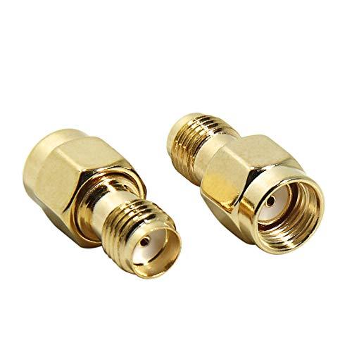 SMA Hembra A Rp-SMA Macho, SMA Adaptador Coaxial RF Conector Coaxial Paquete de 2 para Antena WiFi, FPV, Gafas, enrutador