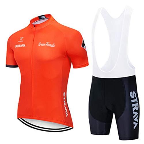 Fahrradanzug Für Herren, Kurzarm Oberteil, Radlerhose Trikot Mit Gel-Pad, Für MTB, Spinning, Rennrad Mens Summer Cycling (Orange 2,XXL)