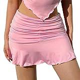 Minifalda con Volantes Fruncidos para Mujer, sin Mangas, sin Espalda, con Cuello Halter, Top Corto, Falda de Tenis elástica, Conjuntos de Verano Y2K (Pink Skirt, Large)