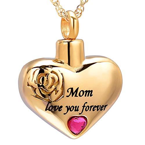 QFV Mom Love You Forever Heart Cremación Joyas para Cenizas Colgante Locket Collar de urna Conmemorativa de Recuerdo de Acero Inoxidable