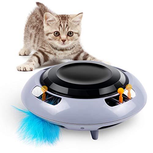 Giocattoli per Gatti Gioco Gatto Interattivo 360° UFO Giochi per Gatti in Casa Gioco Elettronico per Gatti con Piuma Giocattolo per Allenamento Sensazione and Istinto, 2 modalità di velocità (Grigio)