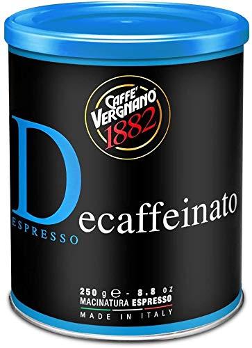 6 Lattine Caffè Vergnano 100% Arabica Macinato Decaffeinato - 6 confezioni da 250 gr