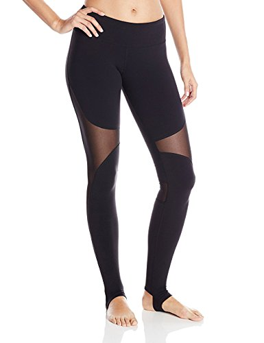 DeepTwist Mesh Yoga Hosen Leggings für Damen - Workout Running Strumpfhosen Lang Activewear Fitness Running Pilates Gamaschen, UK-DT4007-Black-L