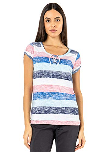 Sublevel Damen T-Shirt mit Kordel-Schnürung Gestreift red L