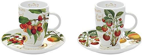 Set di 4 tazzine da caffè con frutti Fine China 2 tazze 2 piattini in confezione regalo